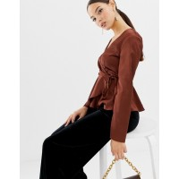 Fashion DESIGN wrap top in satin with pephem Wrap front Side-tie fastening Long sleeves 1373081 PCCIPEU