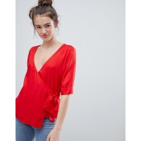 Monki wrap front blouse in red V-neck Crossover front That's a wrap 1316735 YJWHDBI