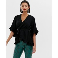 River Island wrap front blouse with frill sleeves in black Plunge neck Wrap front Tie waist 1354696 IZUUSHJ