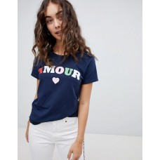 Daisy Street Relaxed T-Shirt With Amour Print Crew neck Its classic you Short sleeves 1286046 LMUZNJR