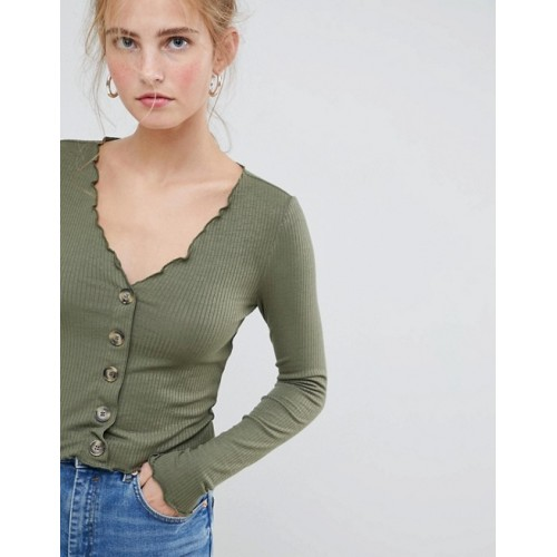 Fashion DESIGN v neck top in rib with button front and long sleeve V-neck Button placket Ruffle trims 1333797 BOGGQAP