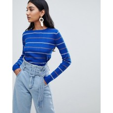 Mango bold color and stripe ribbed top in blue Somewhere between plain and printed Boat neck Regular fit 1362451 FAVZPFQ