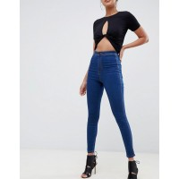 Fashion DESIGN Rivington high waisted jeggings in flat rich blue wash High rise Just like your standards Concealed fly 1293406 RUVAYVP