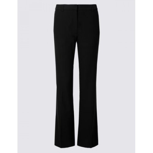 M&S Collection Slim Bootcut Trousers Black Fastening Hook bar and zip Mid rise Inside leg length Waist to hem length 78cm T591550B MXWFXNF