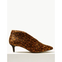M&S Collection Wide Fit Kitten Heel V-Cut Shoe Boots Brown Mix Wide fit Insolia® Upper Other materials T021325W SZCWTDE
