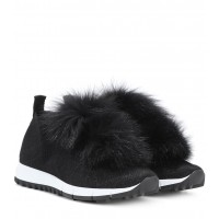 Jimmy Choo Norway fur-trimmed sneakers P00277142 QDXZARN