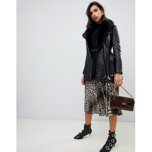 River Island longline real leather jacket with faux fur trim in black Fluffy faux-fur trim Seriously strokeable Notch collar 1377388 EPMWIUU