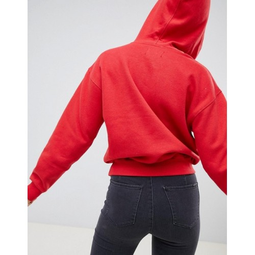 Bershka basic hooded sweater in red Plain design Why complicate things? Pouch pocket 1332967 YZTMVJR