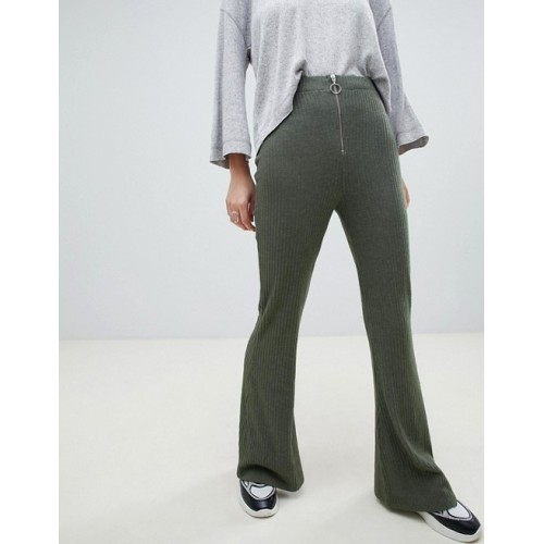Fashion DESIGN 70s rib flare with zip and ring pull High rise Stretch waistband Zip front with ring pull 1343971 HTAYHNS