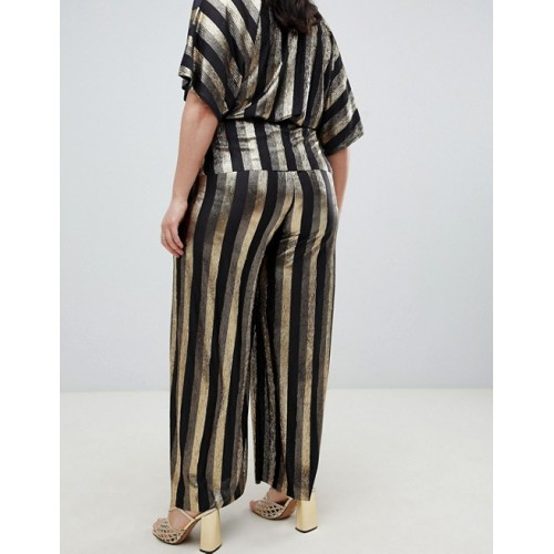 Flounce London Plus wide leg pants in gold metallic stripe High-rise waist Striped design Get in line 1358309 RPHCSIK