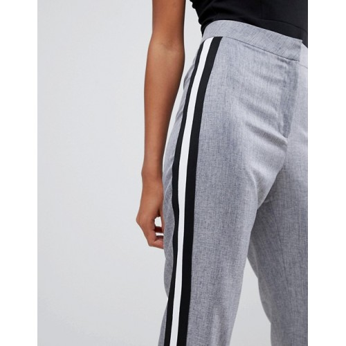 Missguided Sports Stripe Cigarette Pants High-rise waist Concealed fastening Stripe to side 1339224 OAGDJBG