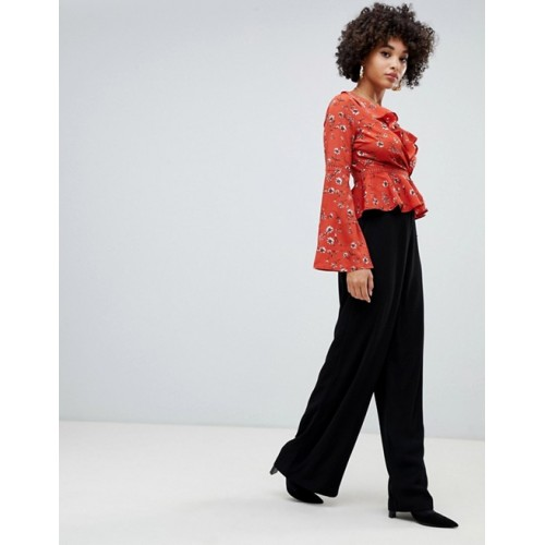 Missguided wide leg PANTS in black High rise Concealed fly Wide-cut leg 1354270 HRAXPPT