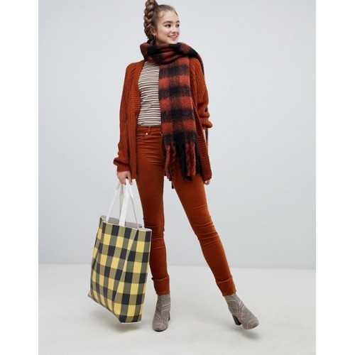 Monki skinny cord pants in rust Mid-rise waist Concealed fly Functional pockets 1377000 KQKYMSU