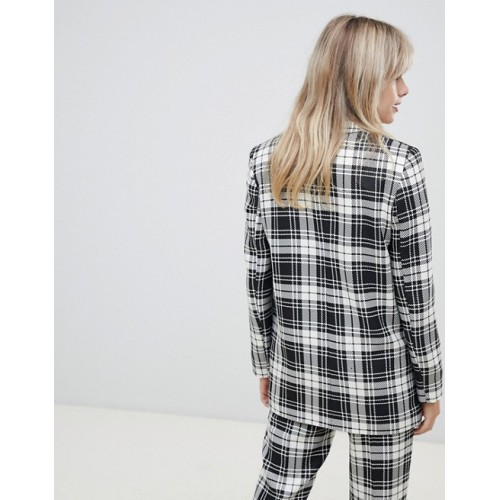 Fashion DESIGN mono check suit blazer Notch lapel Double-breasted design Functional pockets 1366217 AAAAWEA
