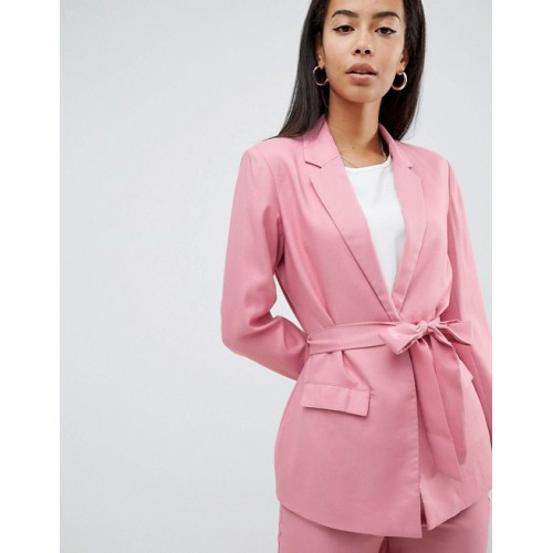 Fashion Union Tall Tie Waist Blazer Two-Piece Notch lapels Open front Self-tie waist 1275545 LVNWRNN