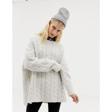 AllSaints Marcel oversized sweater in cable knit Round neck Dropped shoulders Extra-long sleeves 1386487 DOVRNZQ