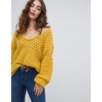 Free People Crashing Waves chunky sweater Wide v-neck Dropped shoulders Ribbed cuffs and hem 1366782 DJKVIYA