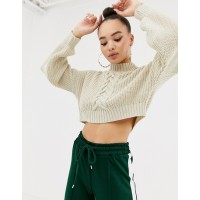 Missguided high neck cropped sweater in cream High neck Dropped shoulders Balloon sleeves 1381967 OGUQUYP