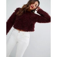 New Look fluffy sweater in dark red Round neck Long sleeves Dropped shoulders 1368059 QQROVUF