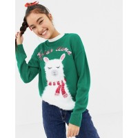 New Look Llama Holidays Sweater Cute right? Fluffy texture Crew neck 1367997 BVXQCWH