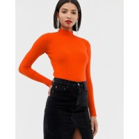 River Island high neck lightweight sweater in orange Plain design Why complicate things? Ribbed cuffs and hem 1371782 TZXCOKY