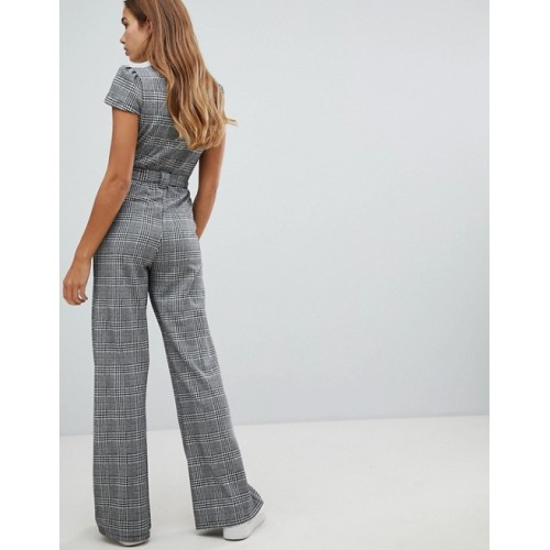 Fashion DESIGN 70s check jumpsuit V-neck Self-tie waist Check design 1331794 LVZHKKN
