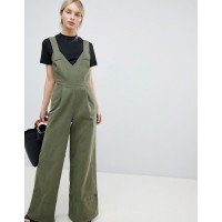 Fashion DESIGN Jumpsuit In Twill With Tie Detail And Wide Leg V-neck Tie-strap details Wide leg 1222176 FHHRZLD