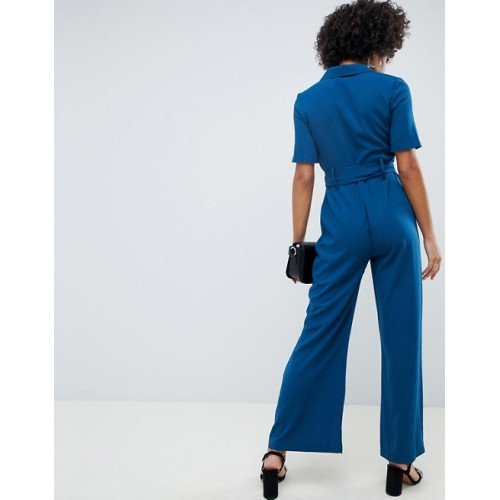 Fashion DESIGN jumpsuit with soft flare leg and self belt Spread collar Button placket Chest pockets 1313185 RRPHSQT