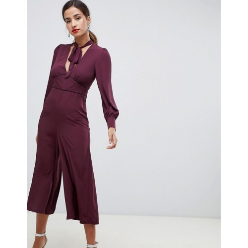 Fashion DESIGN tea jumpsuit with tie neck and piping V-front Tie neck Fitted waist with contrast piping 1334107 WBUFQDF