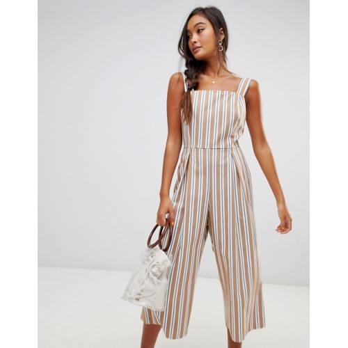 Miss Selfridge pinafore jumpsuit in stripe Striped design Square neck Tie waist 1342921 QWZRWVP
