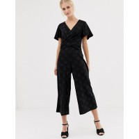 Oasis glitter jumpsuit with twist front in black V-neck Flutter sleeves Twist front 1359929 JAWKYOG