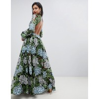 Fashion EDITION embroidered maxi with blouson sleeve & open back Partially lined Crew neck Blouson sleeves 1331889 ZCVMUUC
