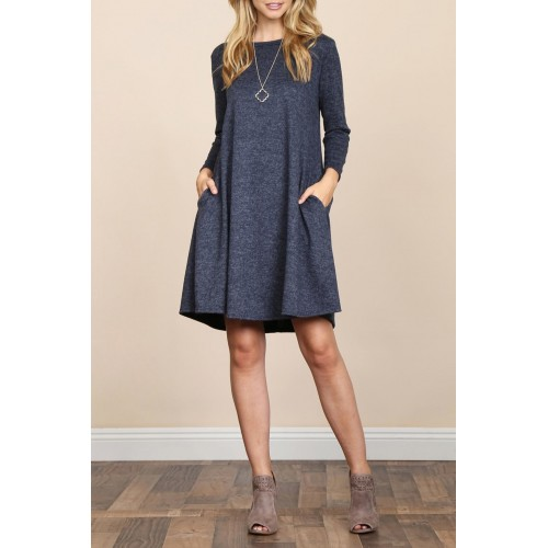 Riah Fashion Two-Tone-Brushed-Hacci Pocket Dress Cozy and glam play together perfectly in this long sleeved tunic dress 85% Polyester 4% Spandex11% Rayon AGRZNGL