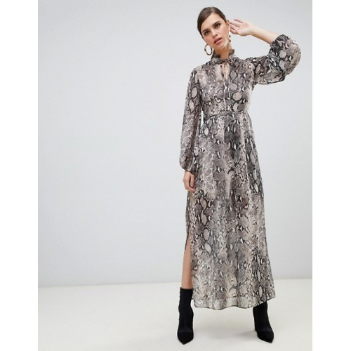 River Island maxi dress with tie neck in snake print All-over snakeskin print Fully lined High ruffle neck 1377420 TTLAKFY