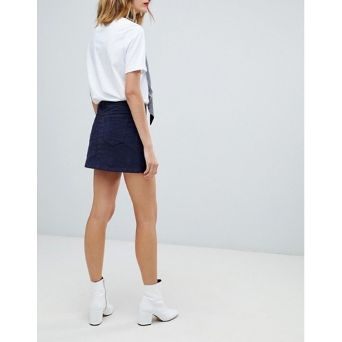 Esprit Cord Mini Skirt High-rise waist Zip fly with button fastening Side and back pockets 1345370 ALKNCTW