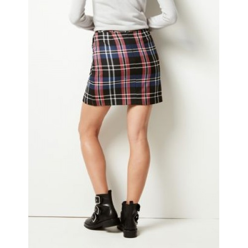 M&S Collection Checked A-Line Mini Skirt Bright Pink Mix Regular fit Back zip fastening Lined T594727 NKRQHYN